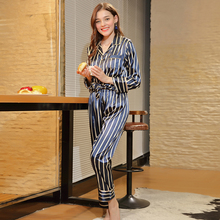 New spinning silk pajamas Womens spring and autumn long-sleeved trousers home service two-piece suit S056