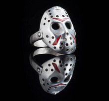 Sunnyyou Retro Antique Silver Horror movie Friday the 13th Jason mask Wedding Ring For Men Personality Tail Ring  Jewelry men s jason voorhees friday the 13th printed pure men s hot mouth mask women s kid pm2 5