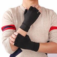 Venta caliente mitad Mitad de dedo 1 pares artritis dolor de articulación de guantes sin dedos guantes Anti-slip terapia guantes de compresión de artritis guante