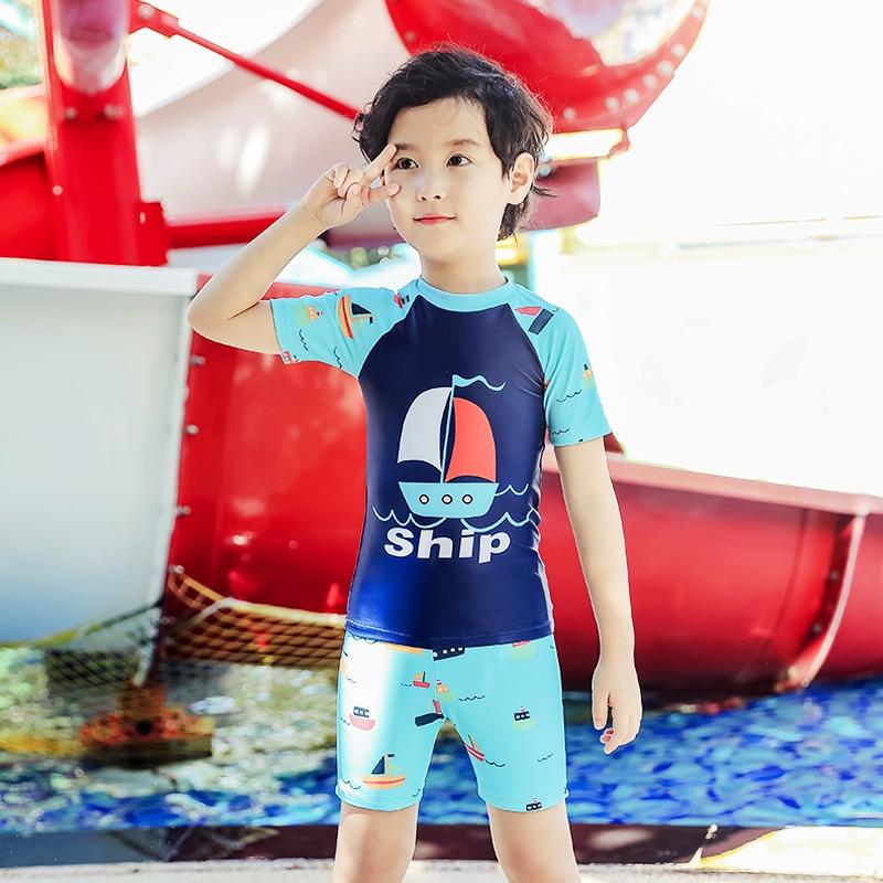 KID'S Swimwear Men's Big Boy Baby Swim Bathing Suit Swimming Trunks Set BOY'S Split Type Beach Sun-resistant Three-piece Set Swi