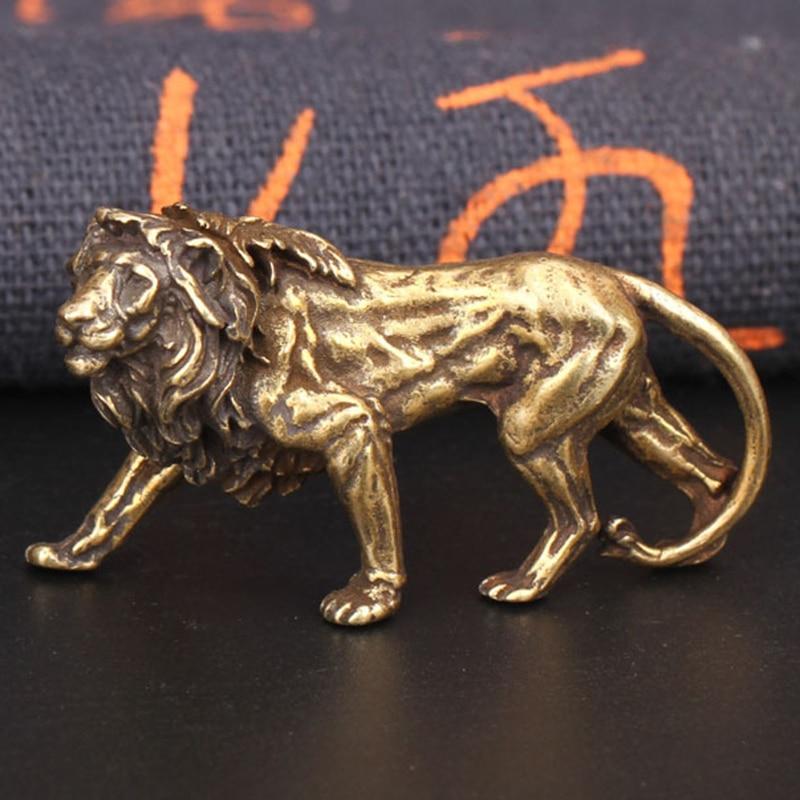 Retro Brass Lion King Miniatures Figurines Desktop Ornaments Pure Copper Statue Metal Crafts Home Decorations Keychain