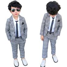 Formal Children Plaid Dress Suit Set Boy Wedding Party Catwalk Piano Performance Costume Kids Plaid Blazer Pants Clothing Sets