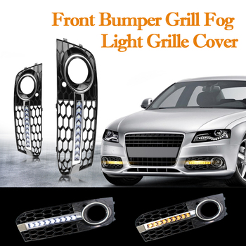 Front Fog Light Grille with Flowing LED Turn Signal DRL Outdoor Personal Car Part Decoration for Audi A4 B8 2009-2011 image