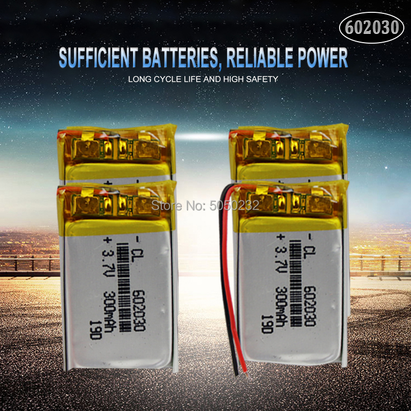 4pc 300mAh 3.7V <font><b>602030</b></font> li-lon polymer Rechargeable battery For Bluetooth Speaker MP3 MP4 Smart Watch wireless card Selfie stick image