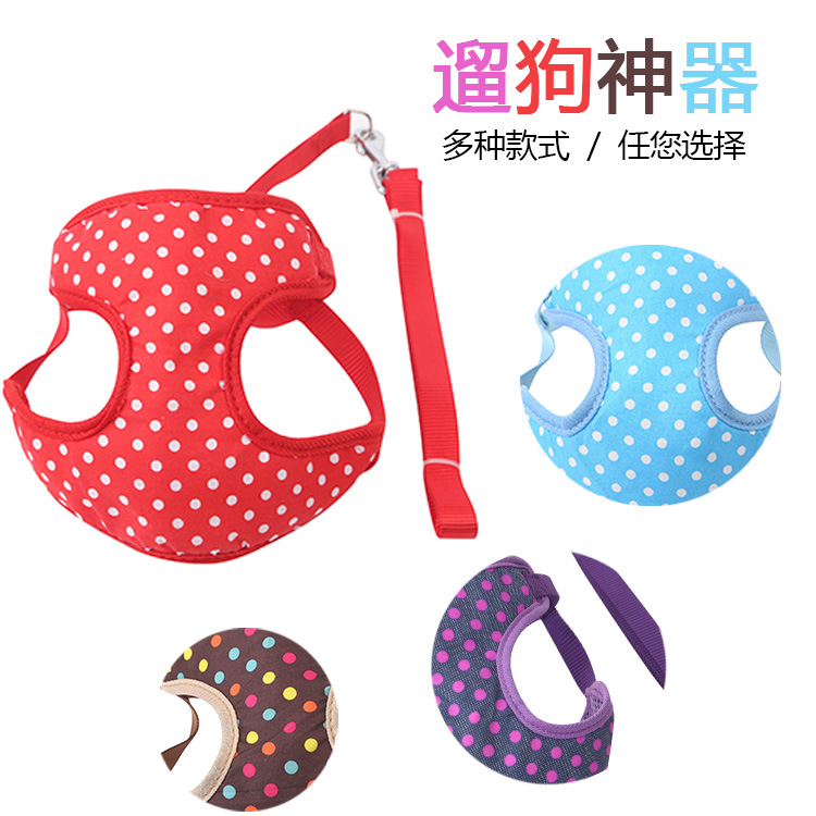 Pet Traction Rope New Style Sandwich Color Dotted Chest And Back With Dog Hand Holding Rope Chest And Back