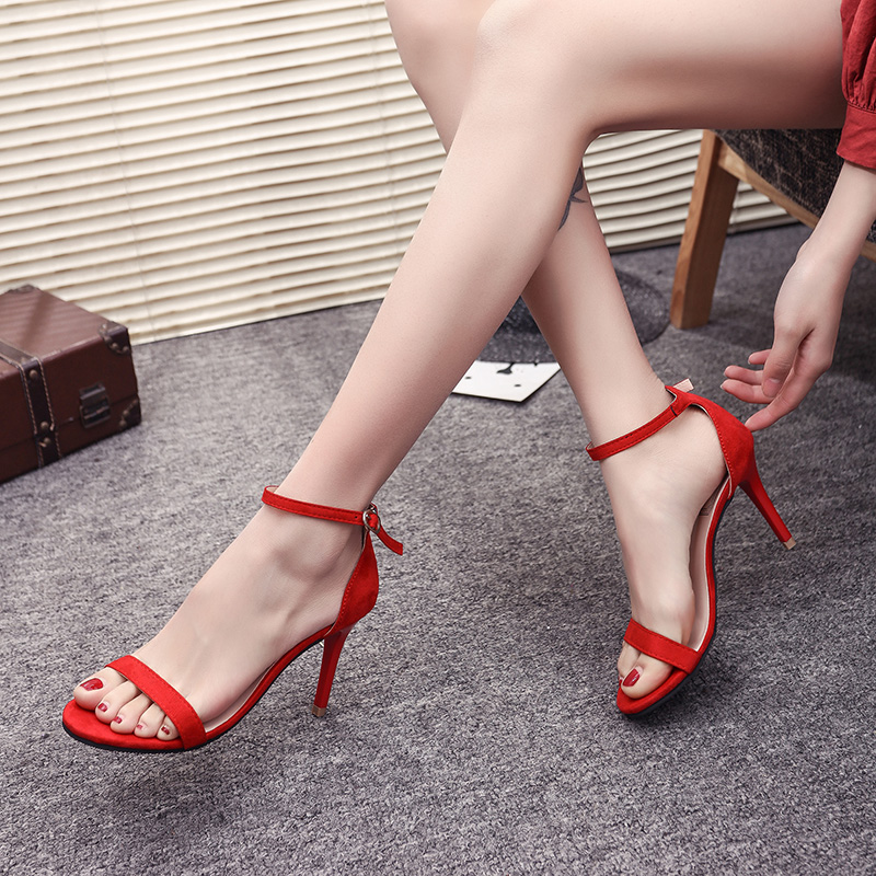 Open Toe Red High Heel Sandals Apricot Black Heeled Wedding Shoes Strappy Evening Dress Heels Ladies Summer Shoes