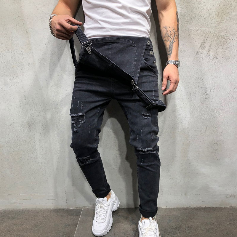 Oeak Fashion Men's Ripped Denim Jumpsuits 2019 New Mens Solid Color Slim Fit Street Distressed Suspender Casual Jeans Pants
