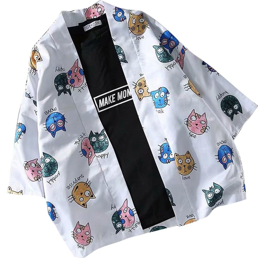 MISSKY 2019 New Spring Summer Shirt For Men Women White Color Cute Cat Printing Kimono Sunscreen Cardigan Shirt Male Clothes