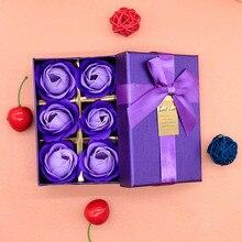 Коробка для мыла в виде Розы, 6 шт., мыло в виде цветка розы, ароматизированное мыло для ванны, лепестковое мыло в виде Розы, свадебное украшение, праздничный подарок#40