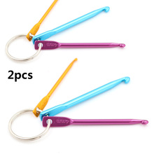 2sets Mini 3 Sizes In 1 Set Keychain Hooks, DIY Multicolour Crafts Knitting Needles Aluminum Crochet Hook Key Ring