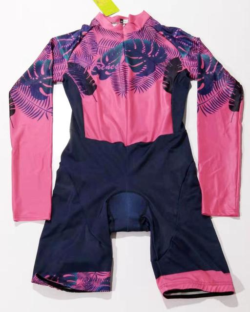 Colorful Triathlon Suit vvdesigns Women's Cycling Long Sleeve Skinsuit Custom Mtb Clothing Set Outdoor Ropa ciclismo Jumpsuit 2