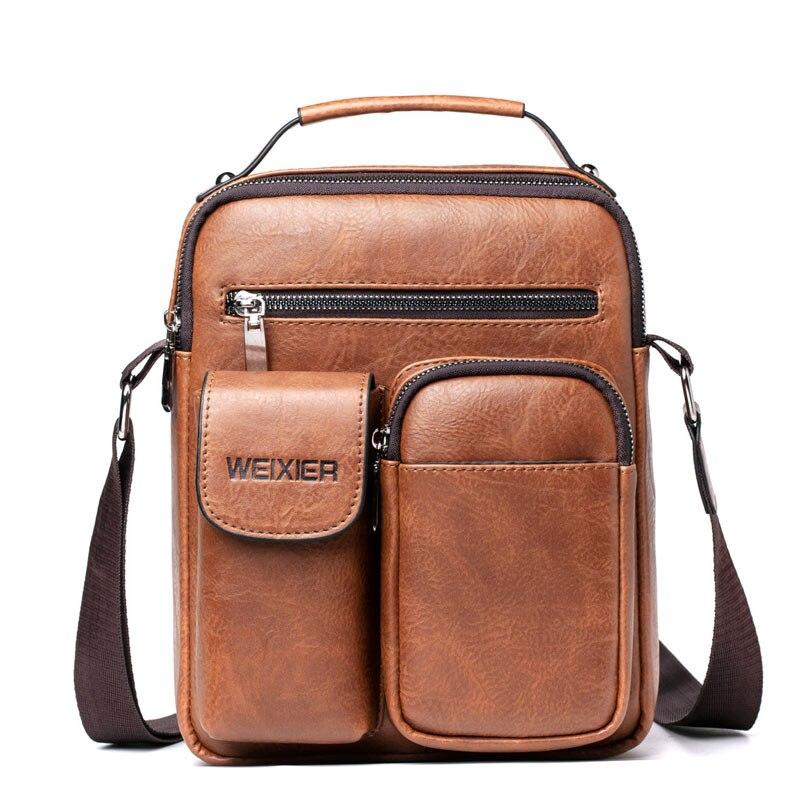 Handbag Men 2020 New Vintage Vertical Square Leather Crossbody Bag Men Casual Zipper Solid Color Waterproof Messenger Bag Men