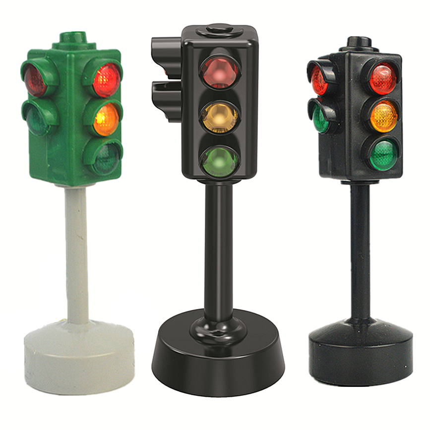 Mini Traffic Signs Road Light Block With Sound LED Children Safety Kids Educational Toys Perfect Gifts For Birthdays