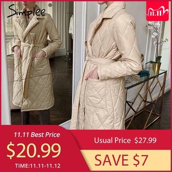 алиэкспресс в рублях каталог, Simplee длинное прямое зимнее пальто с ромбовидным узором, Повседневная Женская парка с поясом, с глубокими карманами и воротником, стильная верхняя одежда