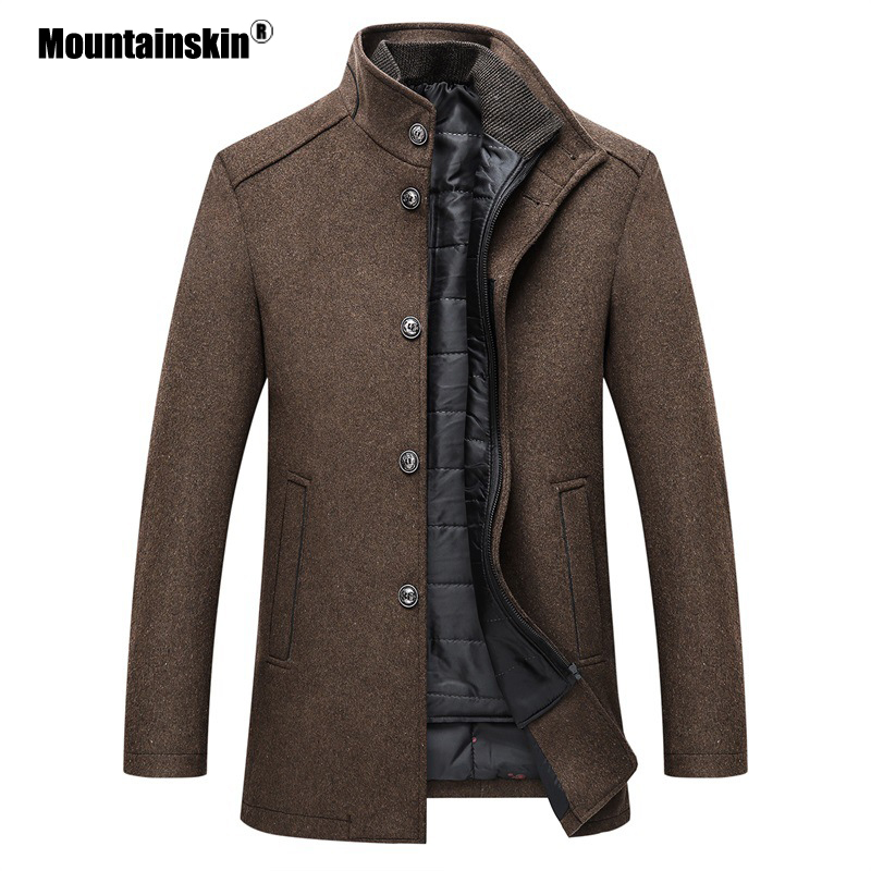 Mountainskin Winter Men Wool Jacket Slim Fit Thick Warm Coat  With Adjustable Vest Male Woolen Jackets Mens Brand Clothing SA857