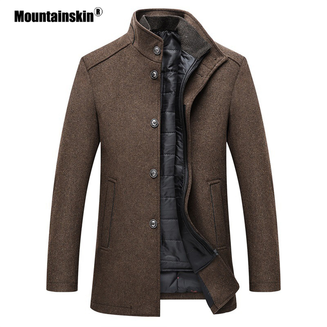 $ US $36.99 Mountainskin Winter Men Wool Jacket Slim Fit Thick Warm Coat  With Adjustable Vest Male Woolen Jackets Mens Brand Clothing SA857