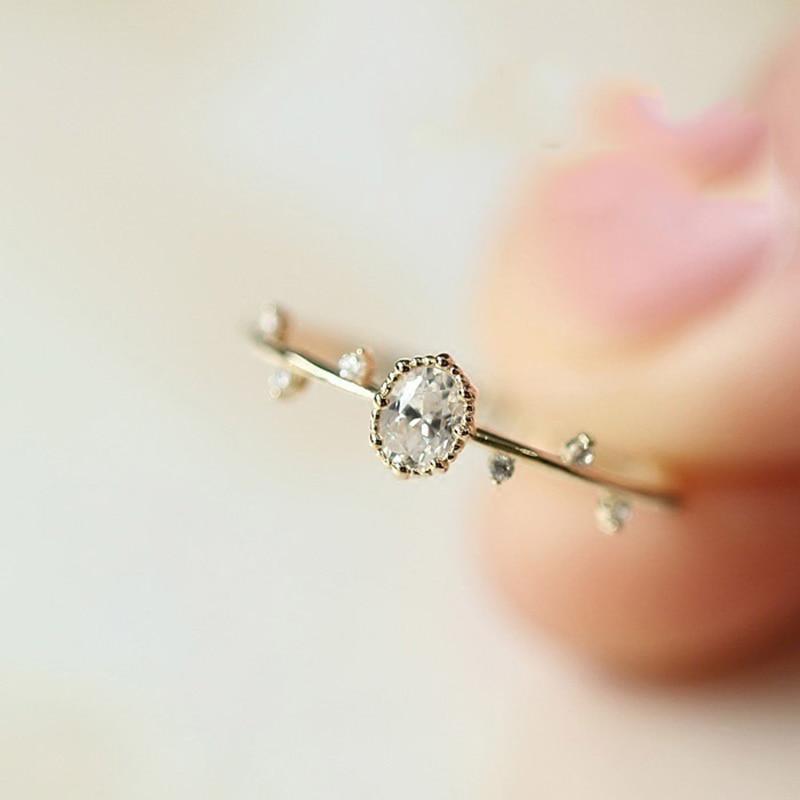 Duplo justo anéis para mulheres chique temperamento de fadas luz amarelo rosa cor de ouro fino ramo dedo anel moda jóias kbr115