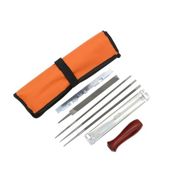 Professional Chainsaw Chain Sharpening Kit Tool Set Hardwood Handle + Round/Flat File Guide Bar File Sharpener Tools