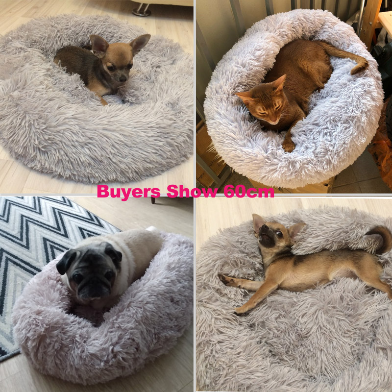 Super Soft Dog Bed Round Washable Long Plush Dog Kennel Cat House Velvet Mats Chihuahua Dog Basket Pet Bed 7