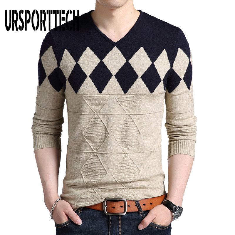 Winter Sweater Men 2019 New Cashmere Wool Sweater Men Slim Fit Pullovers Men Argyle Pattern V-Neck Pull Homme Christmas Sweaters