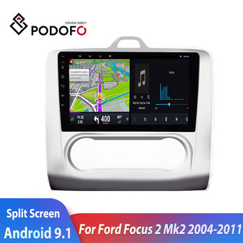 Podofo 2din car radio Android Car Multimedia Player For Ford Focus 2 Mk2 2004-20112din GPS autoradio double screen car stereo image