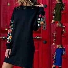 Kadınlar Casual baskı elbise artı boyutu gevşek Bohemian Sundress tam kollu o-boyun parti Vintage elbise
