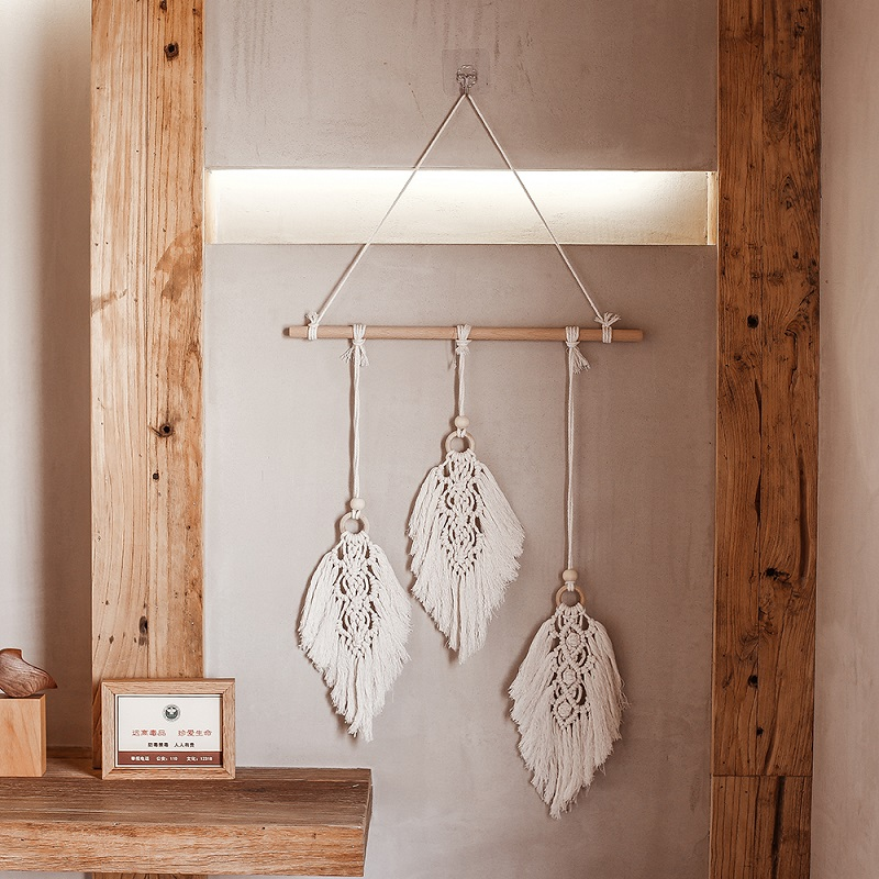 Nordic Macrame Wall Hanging Leaf Tapestry Decor Bohemian Tassel Chic  Home Living Room Bedroom Headboard Decoration Accessories