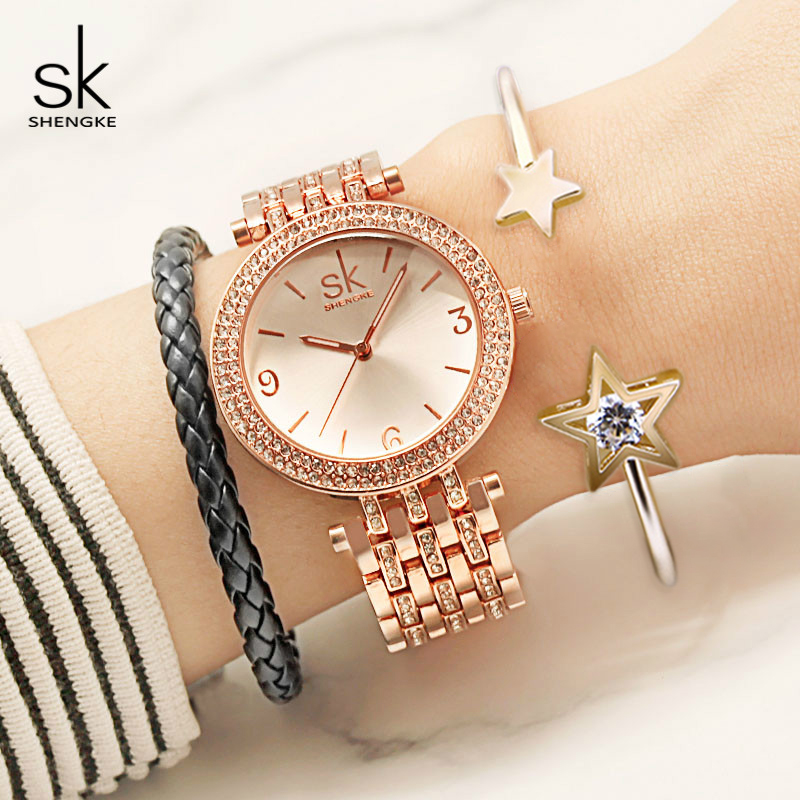 Shengke Watches Women Brand Luxury Quartz Watch Set Ladies Clock Relogio Feminino 2019 Watches with Bracelet Women's Day Gift-in Women's Watches from Watches