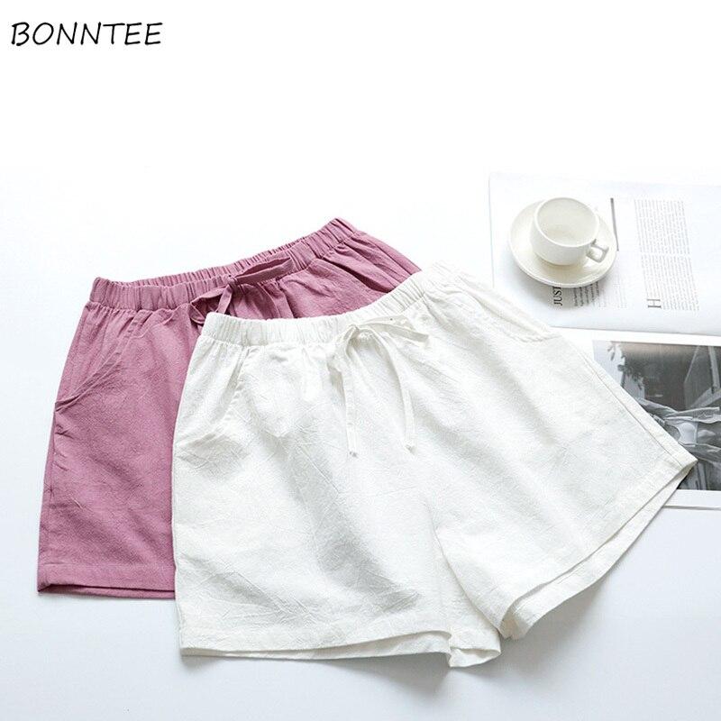 Shorts Women High Waist Elastic Solid Pockets Thin Leisure Chic Womens Summer Short Loose Wide Leg Girls Outwear Korean Students