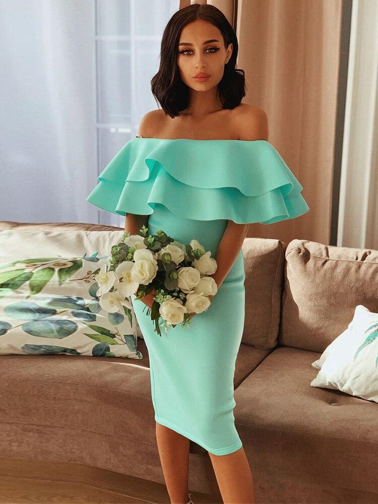 Ocstrade Dress Club Mint Evening-Party-Dress Ruffles Off-Shoulder Summer Women New-Arrival