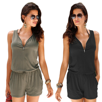 Zipper Casual Jumpsuit set Sleeveless Beach V-neck Woman's Rompers Fashion 1 Set Women's Sleeveless