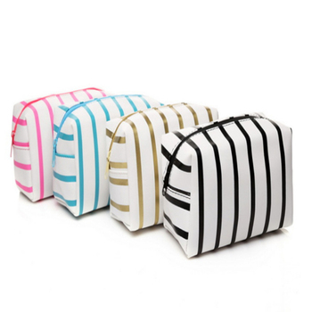 1Pcs Women Striped PVC Cosmetic Bag Makeup Bags Girls Travel Organizer Necessary Toiletry Bag Wash Make Up Pouch Beauty Case fashion makeup bag pvc floral transparent cosmetic bag toiletry wash make up bag pouch travel necessarie organizer bag
