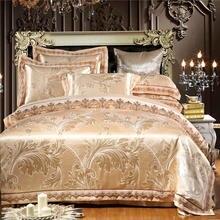 สีขาวSilverSatin Luxuryชุดเครื่องนอนชุดQueen/Kingขนาดลูกไม้ผ้าฝ้ายJacquardชุดแผ่นผ้าปูที่นอนผ้านวมParrure de Lit