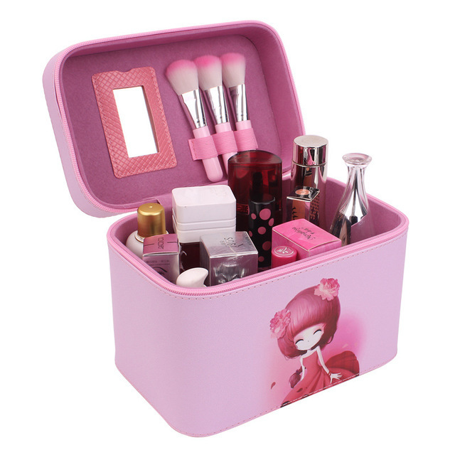 Cute Pattern Iron Tower Women Makeup Box Professional Portable Zipper Large Cosmetic Bag Much Colors 4