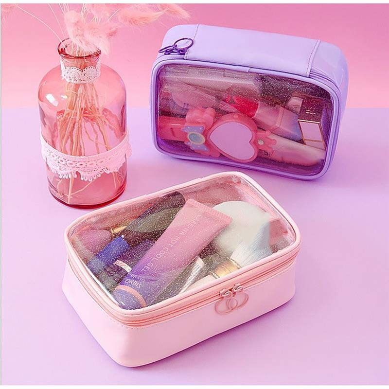 Bageek Fashion Transparent Starry Pattern Toiletry Bag Portable Multi-Use Clear Window Cosmetic Bag Makeup Bag For Travel
