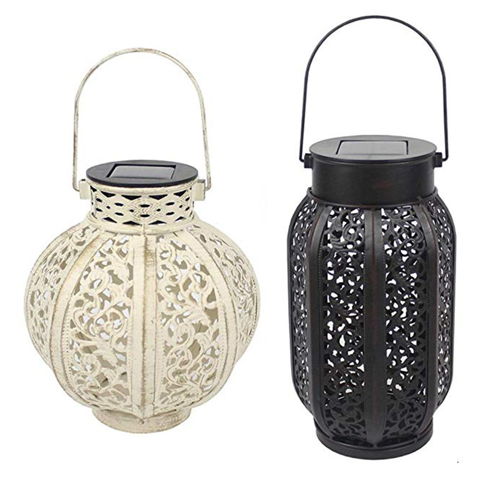 Iron Solar Lantern European Portable Hollow Winter Melon Pumpkin Solar Lantern Festival Holiday Home Garden Tree Decoration