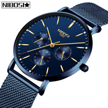 Relogio Masculino NIBOSI Ultra Thin Men's Watches Top Brand Luxury Watch Men Sports Quartz Stainless Steel Mesh Strap Dial Clock все цены