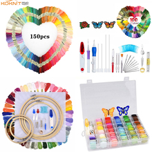 KOKNIT Cross Stitch Floss Embroidery Kit Colorful Threads Magic Hoop Stitching Punch Needle Pen Set DIY Sewing