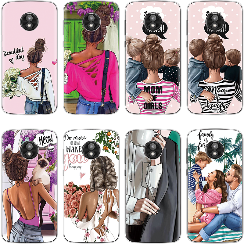 Black Brown Hair Baby Mom Girl Cover For TPU Motorola Moto Z4 Play One G7 Power E5 G4 Play G5 G6 Z Z2 Z3 E5 Plus Queen MAMA Case