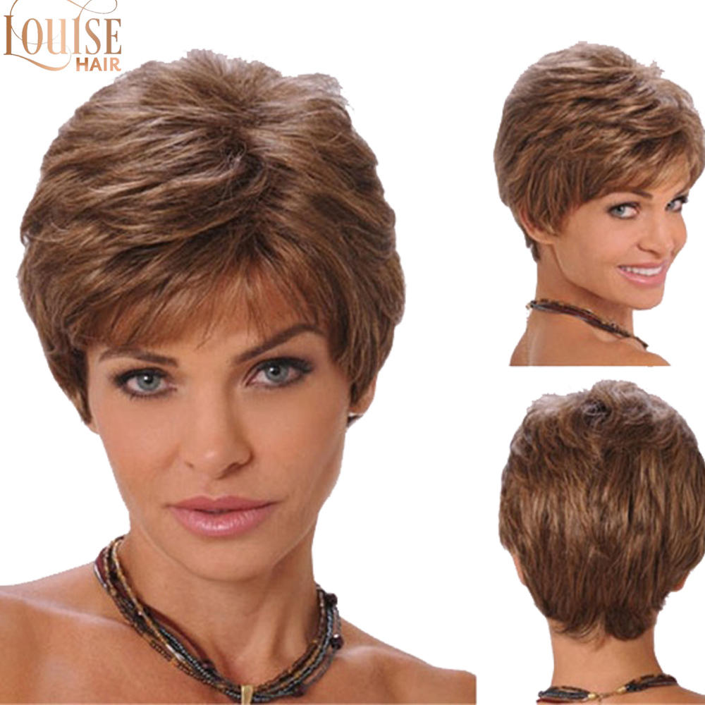Louise Hair  Natural Straight Short Pixie Cut  Blonde Wig With Bangs Synthetic Wigs For Women Discount  Pelucas Pelo Corto