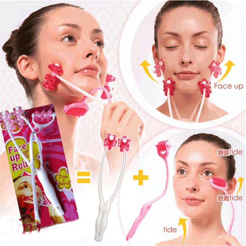 Hot Sale 2 in 1 Anti Wrinkle Face Up Roller Massage Professional Slimming Remove Double Chin Diy Face Slimmer Massager Roller