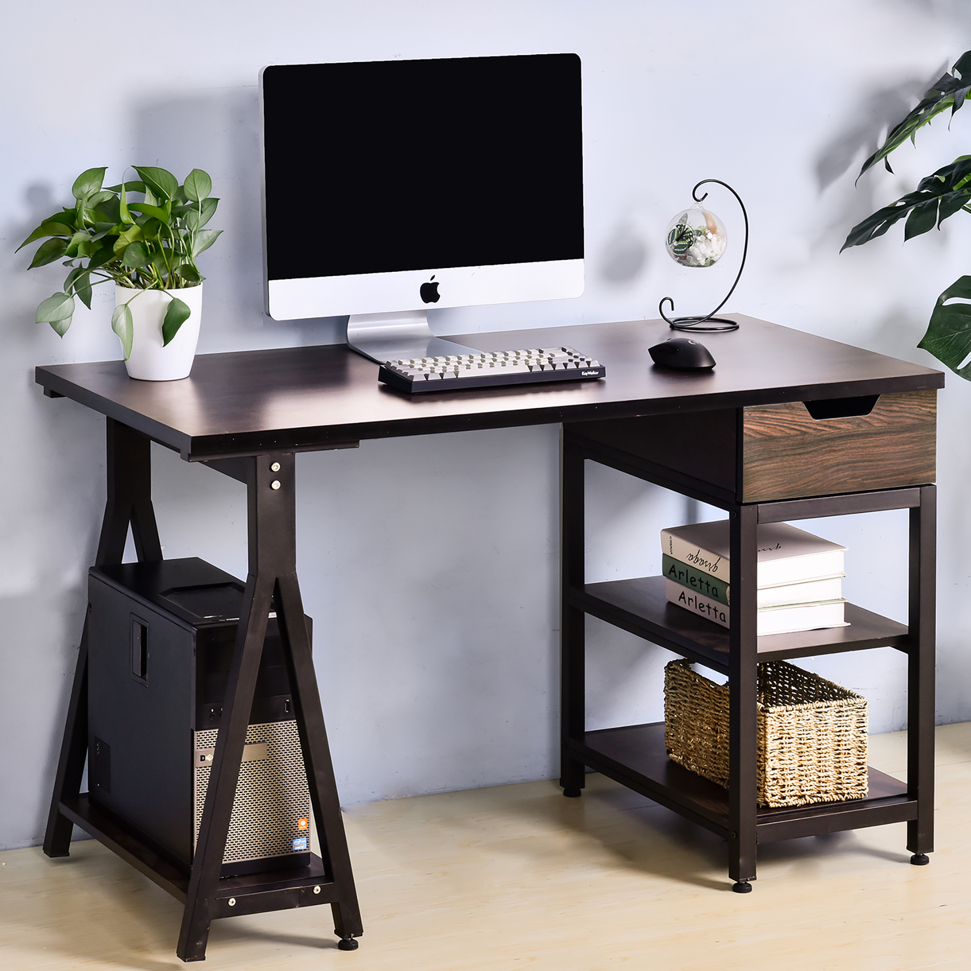 Tribesigns Computer Desk With Drawer And Bookshelf Home Desk Suitable For Home, Study, Office