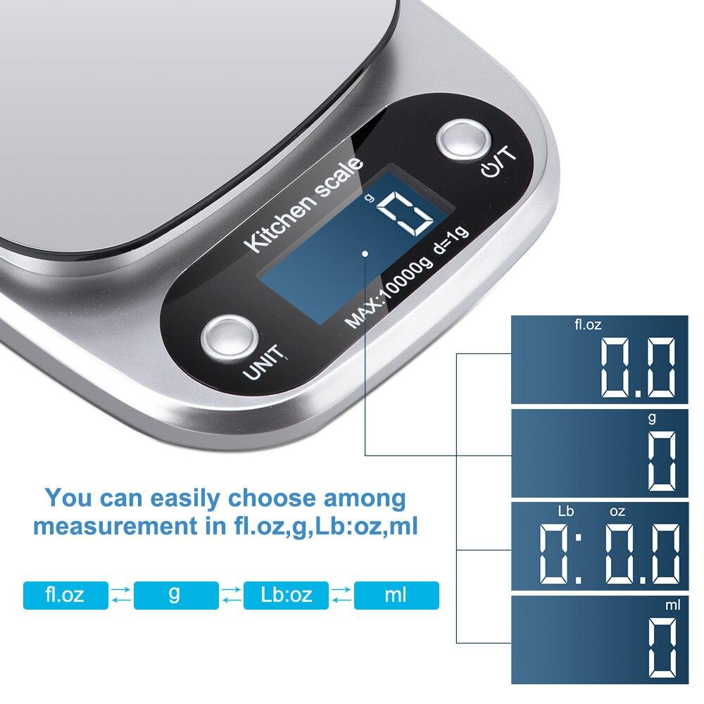Принимает массу весом до 5 кг/10g Кухня цифровой шкалой ЖК-дисплей электронные весы 1g/0,1g для Еда весы измерительная Вес Весы Почтовый-3