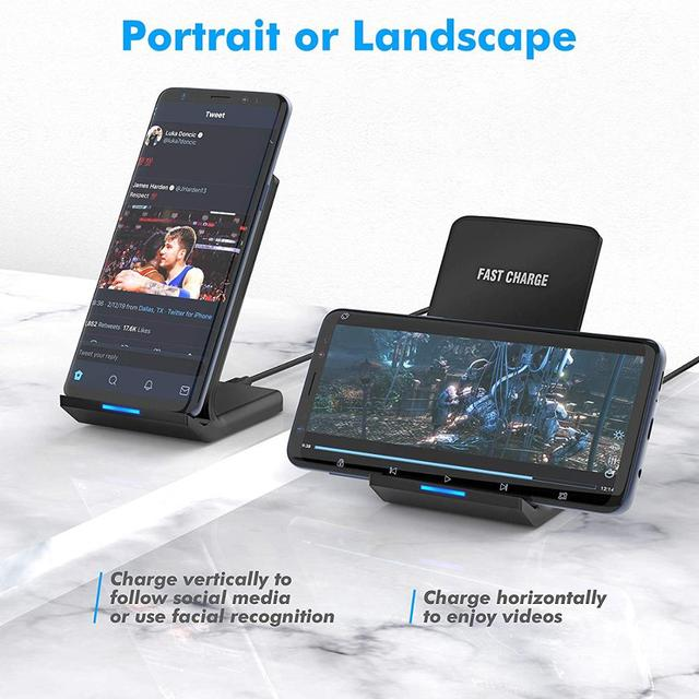 30W Qi Wireless Charger Stand For iPhone 12 11 Pro X XS Max XR 8 Samsung S20 S10 Note 20 Fast Charging Dock Station Phone Holder 3