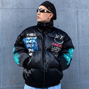 Image 5 - 2019 Hip Hop Jacket Parka Smile Face Print Men Windbreaker Streetwear Harajuku Winter Padded Jacket Coat Warm Outwear Thick New