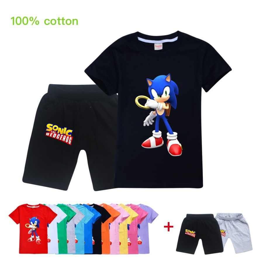 2020 Anak Sonic Hedgehog Boy Girl Blus T Shirt Gambar Kartun Lucu T Shirt Anak Musim Panas Kasual Balita Lengan Pendek Pakaian Set Pakaian Aliexpress