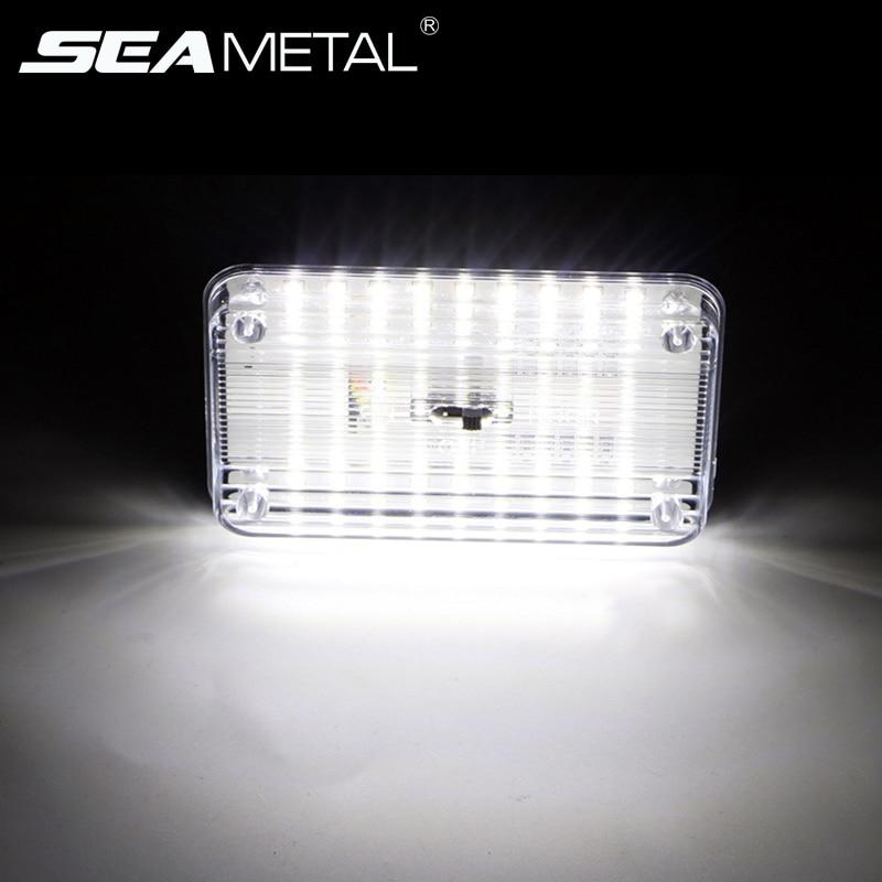 SEAMETAL 36 LED araba iç ışık kubbe çatı tavan okuma ışıkları gövde lambası araba Styling gövde lambası gece lambası otomatik 12V