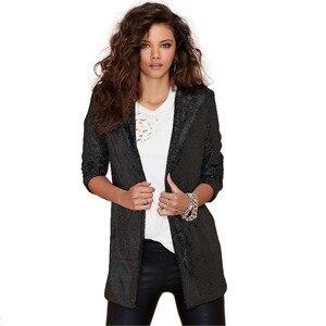 Image 2 - Outono feminino lantejoulas blazers jaqueta ouro bling prata preto manga longa elegante terno casaco noite clube glitter brilhante punk outwear