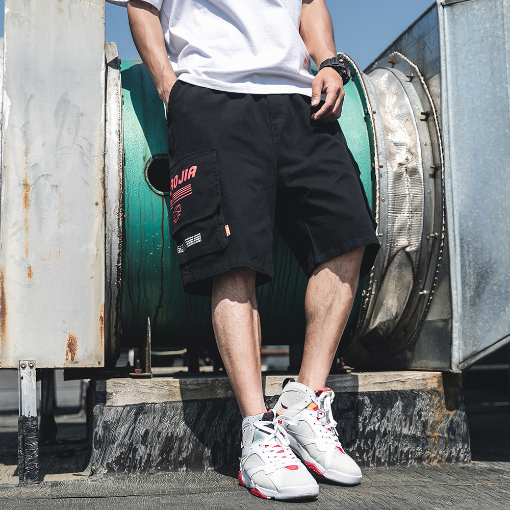 Summer Men Shorts Cargo Casual Pants Short Homme Overalls Fashion Loose Work Shorts Bigger Pockets Knee Length Outer wear black