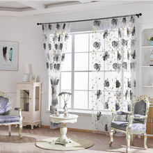 Vines Leaves Tulle Door Curtain Drape Panel Sheer Scarf Hanging In Living Room Home Decor(China)